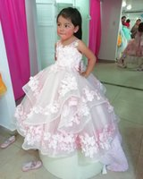 Lovely Baby Flower Girls' Dresses Crew Neck 3D-Applique Buttons Back Pageant Party Gowns Tiered Long Birthday Formal Vestidos