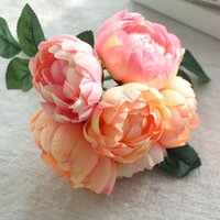Decorative Flowers & Wreaths 6 Pieces lot Artificial Flower Peony Bouquet For Wedding Decoration Silk Home Fake Several Colors