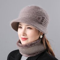 Beanies Women Winter Hat Thick Warm Knitted Cap Add Fur Lined Scarf Set Fashion For Elegant Wool Blend Bucket Ha