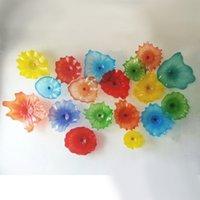 Многоцветная цветочная лампа ручной работы ручной работы стеклянная стекло декор тарелки европейский стиль индивидуальный мурано живущий столовая оформление отсчета от 8 до 18 дюймов