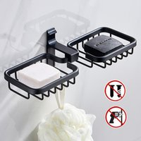 Aluminum Alloy Bathroom Simple Black Paste Soap Holder Cup Box Dish Storage Saver Shower Tray Accessories Dishes