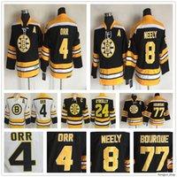 Kinder Vintage Boston Bruins 4 Bobby Orr Hockey Jersey 8 Cam Neelely 77 Ray Bourque 24 Terry O'Reilly Jugend Junge Kinder Retro CCM Black Trikots