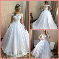 Vestido De Noiva 2021 vintage ball gown Lace Appliques Wedding Dress princess puffy off the shoulder long sleeve bridal gowns modest saudi arabic bride dresses