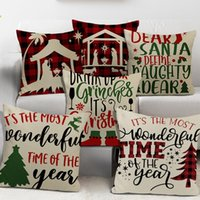 Pillow Case Merry Christmas Decorative Red Beige Linen Cushion Cover 45x45cm Fall Winter Xmas Wish Words Print Pillowcases Hugs
