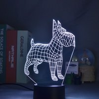 Kids 3D Geometry Bulldog Image Night Light LED Table Lamp Room Atmosphere Decor Nightlight with Lava Base