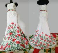 2021 estilo mexicano vestido de casamento rosa flores bordadas laço cetim cetim espartilho espartilho volta mulheres vestido de nupcial vestidos charro quinceanera