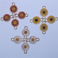 DIYブレスレットネックレスジュエリーメイキング1100 T2のための卸売14 * 21mmの合金金属のドロップオイルの花の魅力のコネクタ