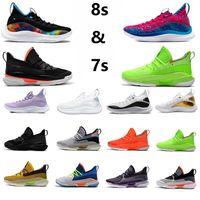 2021 yayınlandı Çok Renkli Doğum Günü Köri 8 erkek basketbol ayakkabıları Nerf Ekşi Yama Çocuklar Yeşil Turuncu Küçük Tur Beyaz Savaşçı Mavi 7s erkek eğitmen spor ayakkabı
