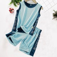 Clothing Sets Boys Set Kids Clothes Middle And Large Children's Summer Sleeveless T-shirt Vest Shorts Two-piece Suit