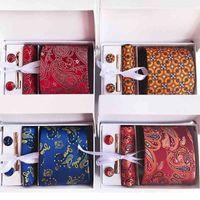 Luxury Men's Tie Set Silk Neckties Paisley Floral Ties for Men Tie Handkerchief Cuff Links Gift Box Packing