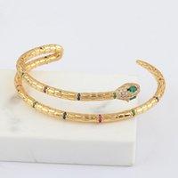 Bangle Design Sens Vert Oeil Double ligne Double ligne Snake Bague Couleur Zircon Bracelet Copper Doré Doré Prestige Rétro bijoux pour femmes