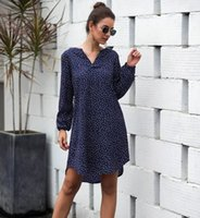 Casual Dresses Women'S Summer Loose Dot Dress Long Sleeve Polka Shirt Tops Beach Or Ol Ladies' Plus Size S-3xl 2021 Vestidos