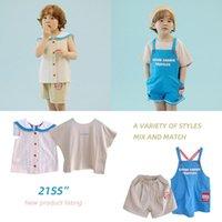 Set de niños 2021 Camisa para niños coreanos de verano Desgaste Shorts Pantalones de correa para bebés en ambos lados Conjuntos de ropa