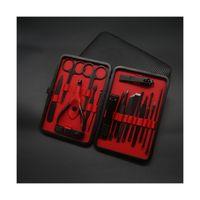 Porcellana Prezzo all'ingrosso della fabbrica Prezzo d'acciaio ad alta carbonio 18pcs Kit Manicure Set Strumenti Set di strumenti Nero Clippers Set