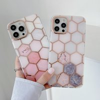 Luxury Plating Line Art Splicing Marble Phone Cases Hard PC for IPhone 11 12 13 Pro Max X XR Xs 8 7 Plus High Quality Shockproof Shell Cover