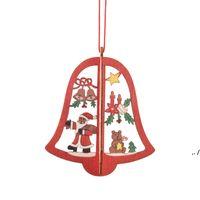 Navidad Adornos de madera 3D Laser Hollow Copo de nieve Campana Forma Feliz Feliz Navidad árboles Decoraciones DWD11184