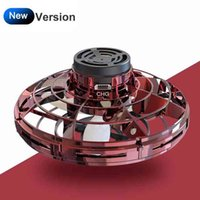 ZK22 LED Flying Spinner Flynova Mini Drone Fingertip Spinner Upgrade Parent-child Flying Gyro Aircraft Fun Interactive Toy Gift 210330