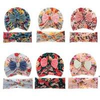 American Baby Headwear Caps Bambino stampato Set a due pezzi per bambini Abbata il feto Caps Stretch Cross Hair Band Cappello neonato LLF10328