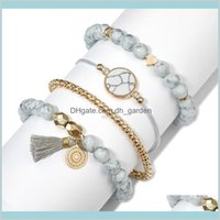 Charm Delivery 2021 Heart Bracelet Set Tassel Stone Beads Bracelets Chain Wristband For Women Fashin Jewelry Gift Will And Sandy Drop Ship Jw