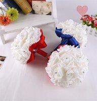 Braut Hochzeit Blumen Blumenstrauß Kristall Rosen Brautjungfer Braut Künstliche Seide Blume Strass Perle Dekoration 2127 V2