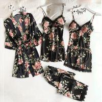Night Wear Pijama Sexy Women Sleepwear 3 Piece Flower Print Underwear Set Robes Lace Satin Deep Lingerie Pour Femme