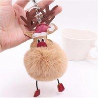 Christmas Gift Keyring Plush Keychain Pendant Cartoon Elk Luggage Decoration Key Chain Party Ornaments 12 colors Wholesale