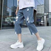Jeans jeans Denim Pantaloncini Primavera e dritto Abbigliamento da uomo casual da uomo Stretch Stretch Pantaloni Capri abbinando maglietta e giacca