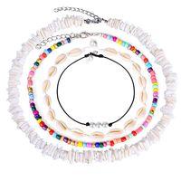 Chokers 4pcs Set Rainbow Rice Bead Broken White Shell Imitation Pearls Necklace Clavicle Chain Bohemian Fashion Women Jewelry