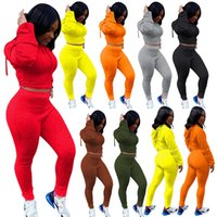 Womens Fall Winter clothes 2 two piece tracksuits solid color hooded sweater cropped top leggings trousers set casual sportswear jogging plus size Women clothing