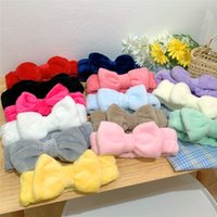 Women Coral Fleece Bow Hairband Solid Color Wash Face Makeup Soft Headbands Fashion Girls Turban Head Wraps Hair Accessories WQ656