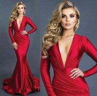 Neue Ankunft Rote Meerjungfrau Formale Abendkleider Sexy Eintauchen V-Ausschnitt Lange Ärmel Satin Rucher Prom Kleider Robe De Soiree 2021 Haustiere der Ehre Brautjungfernkleider