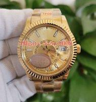 N relojes hombres relojes de pulsera 326938 904L Dial de oro amarillo de 42 mm GMT MES MES ROJO DOT TRABAJO DUAL ZONA DE TIEMPO ZAPHIRE CAL.9001 Movimiento Mecánico Mecánico Mens Reloj Mens