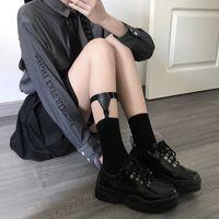 INS Same Harajuku Style Retro Black Non-Slip Strap Women's All-Match Garter Calf Leg Ring Half Socks