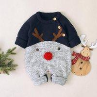 크리스마스 아기 특별 행사 순록 Rompers 긴 소매 레드 푸른 유아 아이들 소녀 스웨터 jumpsuits 가을 겨울 따뜻한 니트 아이 복장 도매