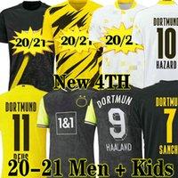 الرجال الكبار + Kids Kit 20 21 Dortmund Borussia Haalan Home Jerseys Soccer 110th Anniversary 2020 2021 الثالث