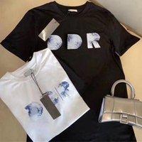 2021 Summer Mens T-shirt Francia lettera 3D La lettera T-shirt da ricamo uomo Tops Womens Couples Top Quality Fashion Paris Street Tee Men S Abbigliamento Casual Manica Corta Ponticelli