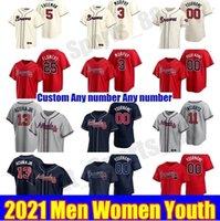 2021 애틀랜타 남성 여성 키즈 청소년 야구 유니폼 프레디 프리먼 Dansby Swanson Brave 13 Ronald Acuna Jr. 1 오지름 Almies Mike Soroka Jerseys