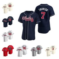 Personalizado 2021 Atlanta Jersey 13 Ronald Acuna Jr 5 Freddie Freeman 7 Dansby Swanson 24 Deion Sanders Braves Camisas de beisebol