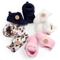 첫 번째 워커 Unisex Flock 따뜻한 아기 소녀 소년 신발 버튼 장식 소프트 솔 슬리퍼 귀여운 미끄럼 실내 실내