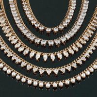 Chains Stainless Steel Necklace For Women Punk Square Round Pendant Zircon Necklaces Pearl Gold Chain Choker Jewelry