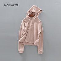 Moinwater Kadınlar Kısa Tarzı Hoodies Kadın Bırakma Omuz Kol Kapüşonlu Kazak Lady Streetwear Rahat Hoody Tops MH20051