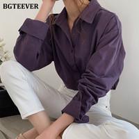 BGTeever Vintage Vintage Воротник Женщины Блуза Рубашки Осень Зима Утолщенные Женские Блузка Топы Рабочая одежда Фиолетовые Рубашки 2021