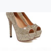 Lady Gorgeous Nightclub Evening Shoes Super High Heels Sandals Woman Dress Shoes Gold Wedding Bridal Dress Shoes
