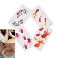 Temporary Tattoos 1 Sheet 3D Gold Fish Waterproof Tattoo Goldfish Girl Tatto Stickers Flash Tatoo Fake