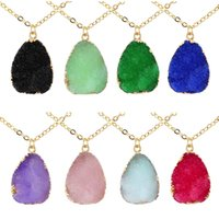 Irregular Resin Stone Druzy Necklaces Gold Plated Link Chain Geometry Stones Pendant Necklace for Elegant Women Girls Fashion Design Jewelry Gifts 8 Colors