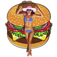 Beach Towel Food Fruits Outdoor Dobrável Lawn Piquenique Matre Ao Ar Livre Portátil Criativo Irregular Hamburger Pizza Francês Batatas Sorvete 2201 V2