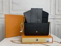 M61276 Pochette Felicie 여성 Luxurys 디자이너 가방 가죽 여성 지갑 키 카드 지갑 핸드백 메신저 크로스 바디 어깨 가방 totes 배낭