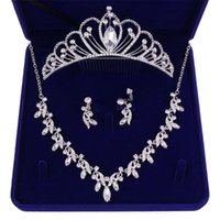 Earrings & Necklace Baroque Crystal Jewelry Sets For Bride Women Wedding Hair Accessories Rhinestone Princess Tiaras Crown Bridal