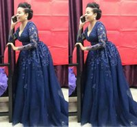 Dark Navy Blue Lace Mother of the Bride Dresses Long Sleeve V Neck A Line 2021 Formal Evening Prom Gowns Custom Plus Size