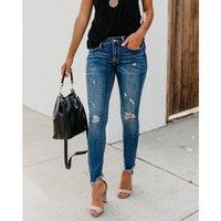 Kadın kot 2021 est kadın streç sıkıntılı sıska yüksek bel kot pantolon rendelenmiş pantolon moda rahat kıyafetler